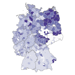 Infomaps using R     Visualizing German unemployment rates by district     germany by unemployment shapefile