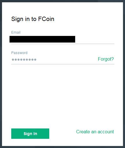 Fcoin メールアドレス確認あとのサインイン情報入力済み画面