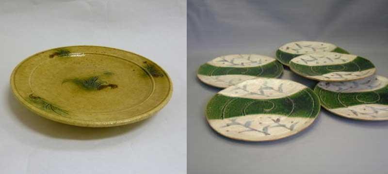 黄瀬戸と織部の皿