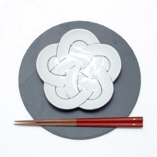 梅むすび銘々皿 -プラチナ線-