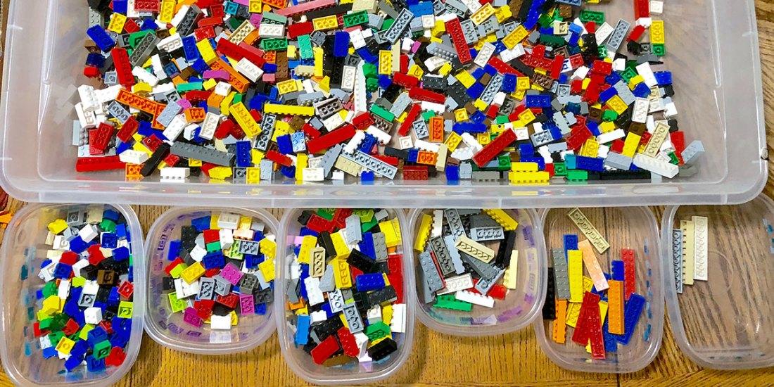 Bins of Lego bricks