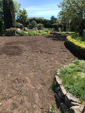 Levelling Local Garden, Micro Digger Hire Cornwall