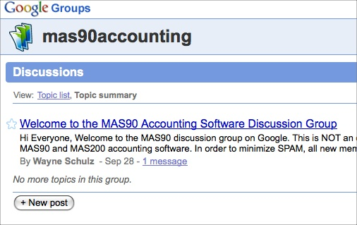 MAS90 Discussion Forum Now Open