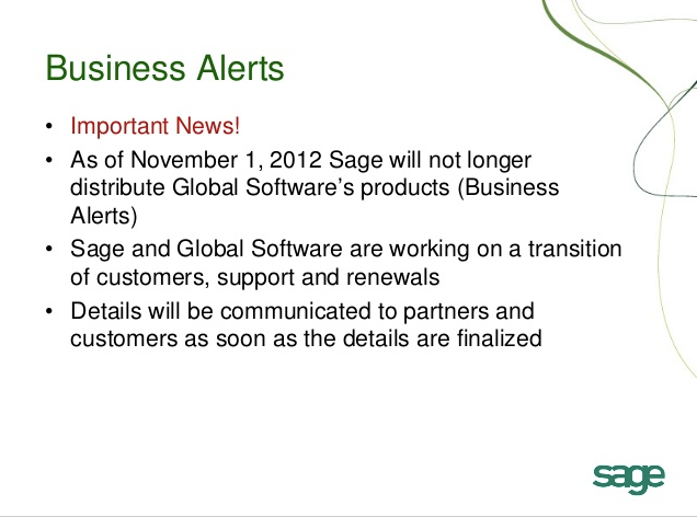 sage business alerts discontinue