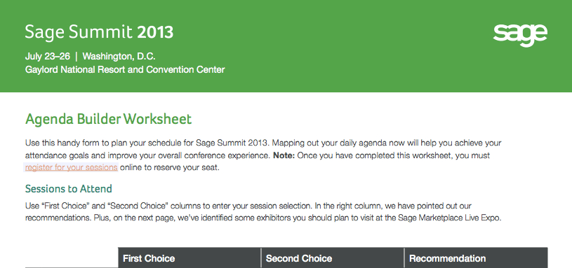 sage summit agenda builder