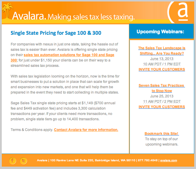 avalara single state sales tax