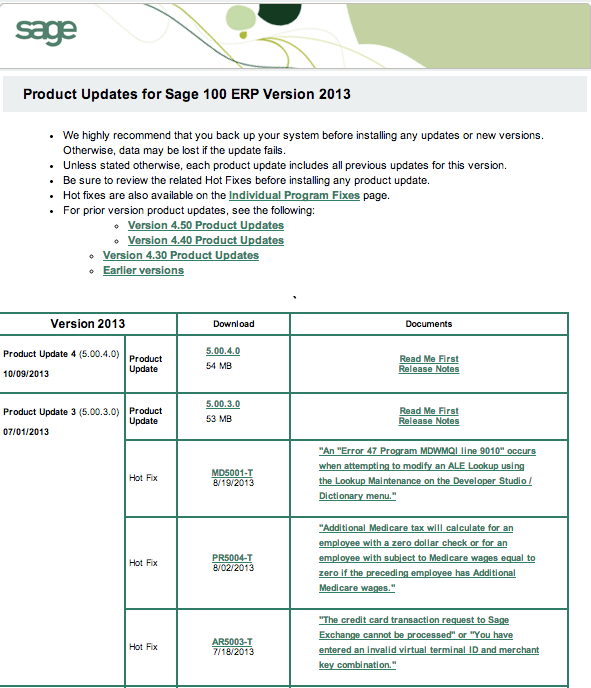 product update 4 sage100