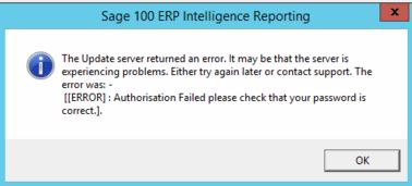 Sage Intelligence Reg Error