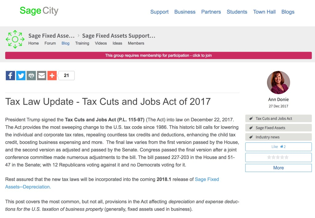 Sage Fixed Assets 2018 1 Set To Include Tax Cuts and Jobs