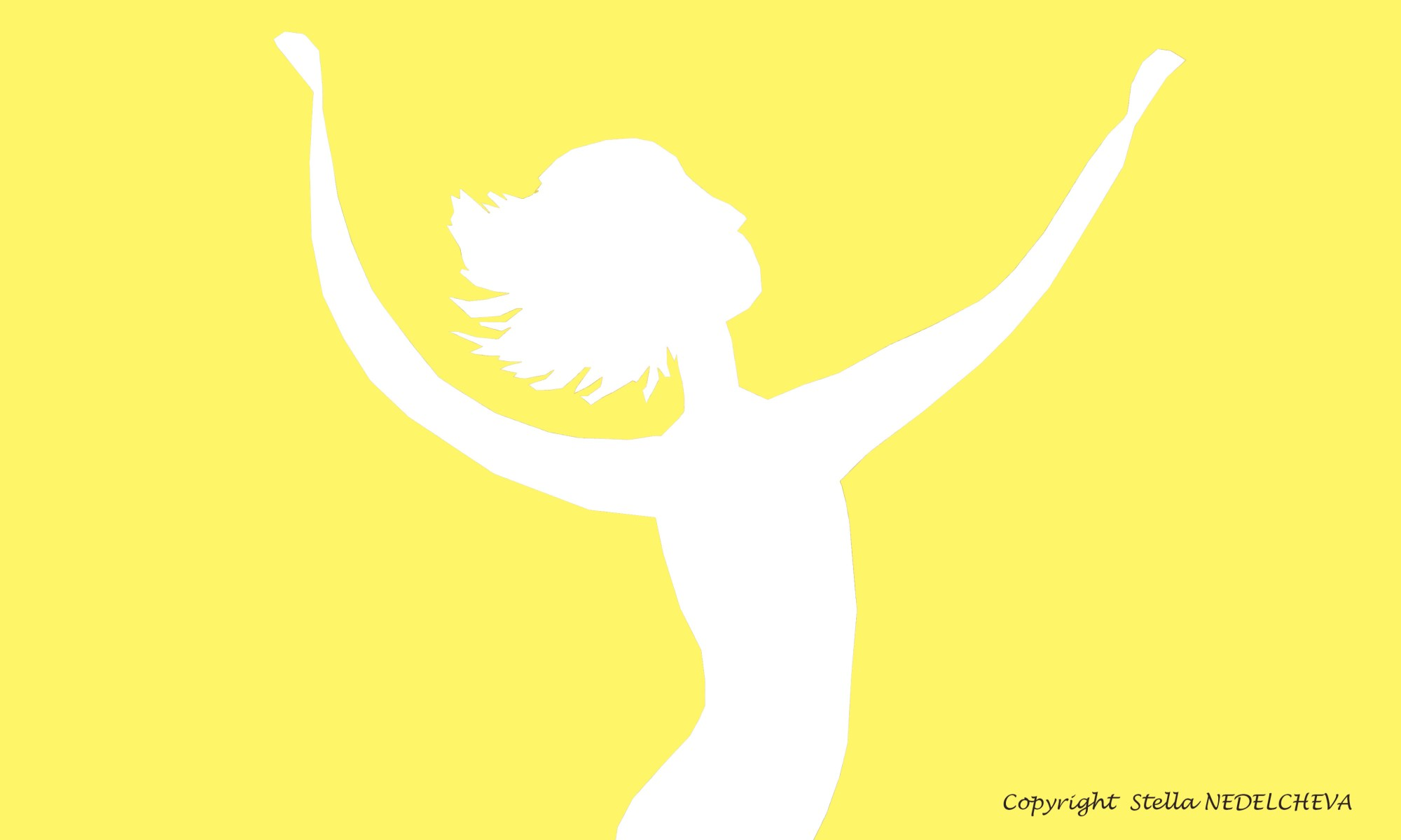 Silhouette blanche élancée avec les bras levés vers le ciel, fond jaune, lumineux