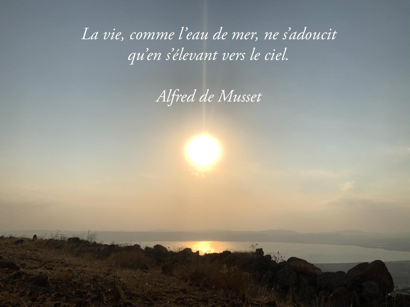 Citation «S'élever vers le ciel» sur un coucher du soleil