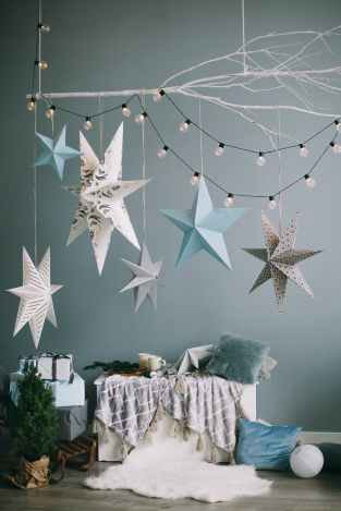 blue white and gray hanging star decor