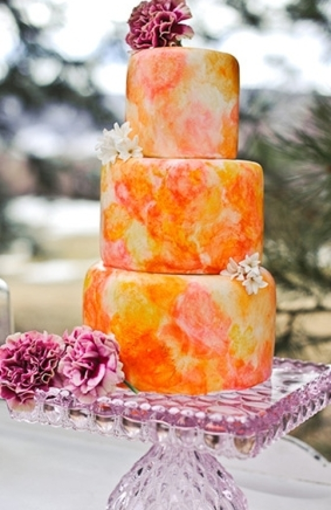 Wedding Cake Prices  20 Ways To Save Big   HuffPost The bright watercolors on this cake create such a beautiful art form   a  href