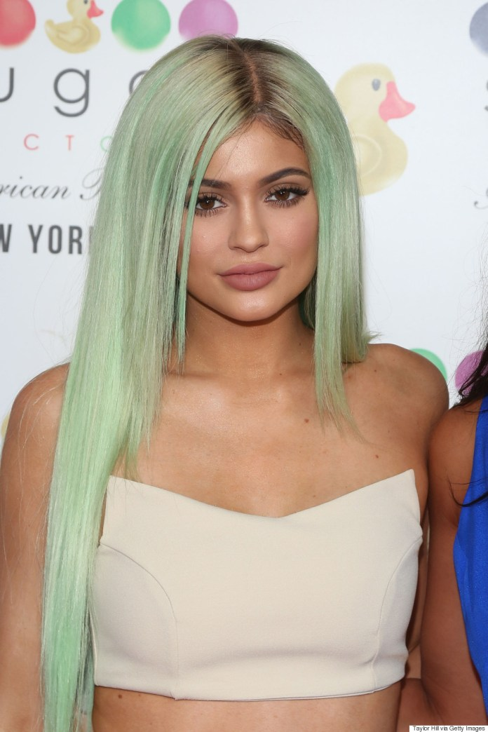 Image result for kylie in pastel green hair