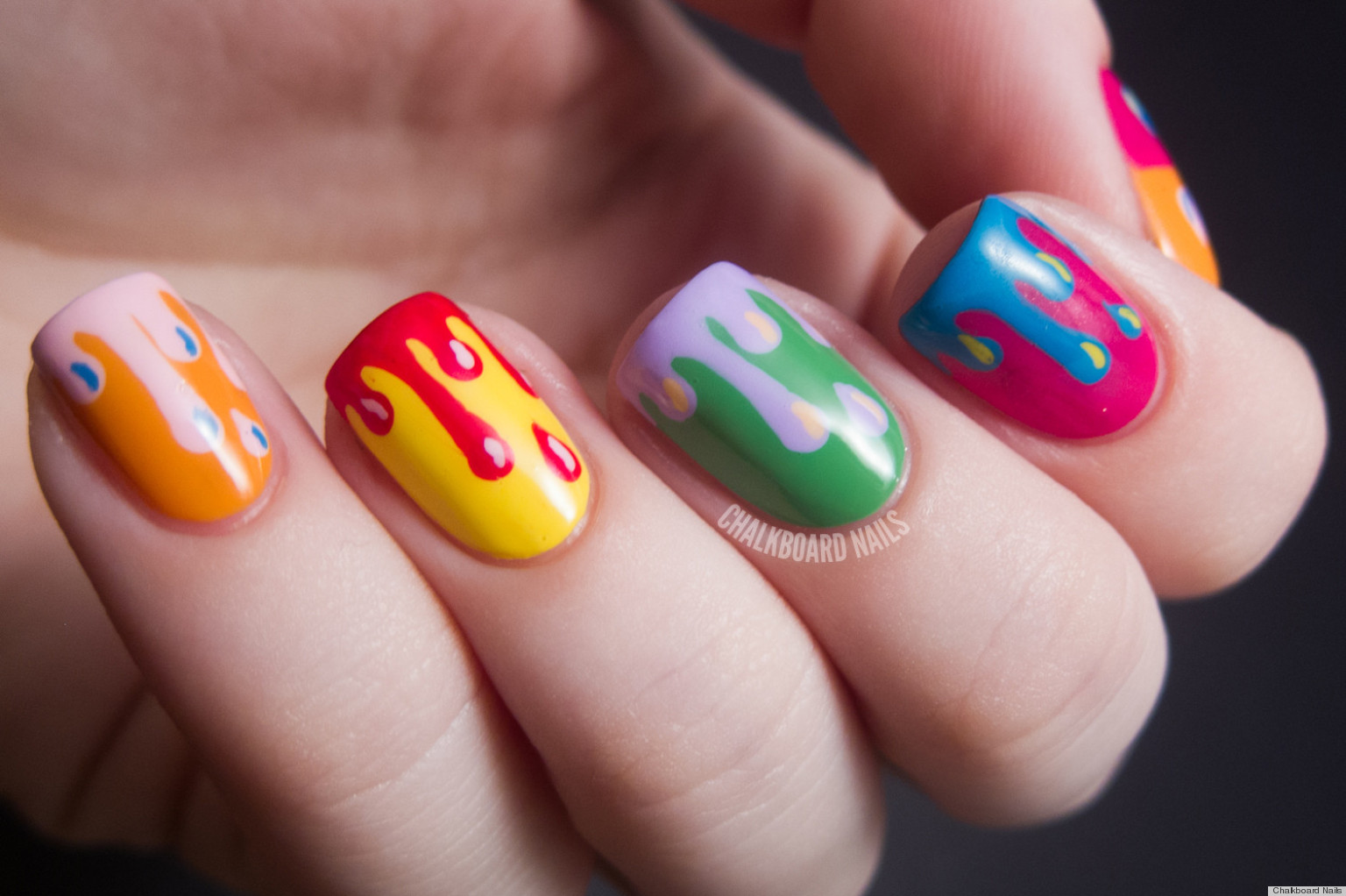 Diy Nail Ideas Paint Drip Art And More Of Our Manicures From This Weekend Photos Huffpost