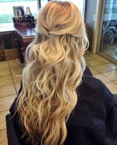 long blonde hair half up half down hairstyle hair pinterest blondes