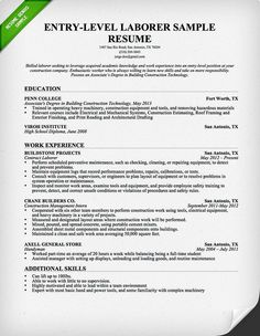 laborer resume resume sample labor relations executive page