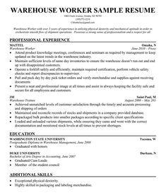 sample resume resume and warehouses on pinterest