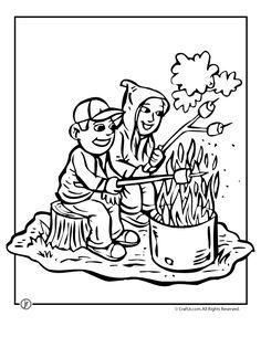 camping coloring page sitting around the campfire roasting