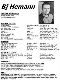 Performer Resume. varieties of resume templates and samples. rob s ...