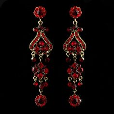 Bold 4 Gold With Red Crystal Quinceanera Sweet 16 Or Prom Chandelier Earrings