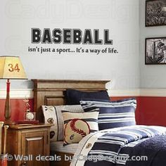 Baseball Vinyl Wall Decal Sports Room Decor Childrens Quote Isn T Just A Sport It S Way Of Life 32x9