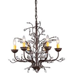Kinsley Wonderland 6 Light Crystal Bronze Chandelier By Warehouse Of Tiffany