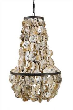 17 1 2 Round X 29h Oyster Shell Chandelier 60 Watt Bulb Maximum