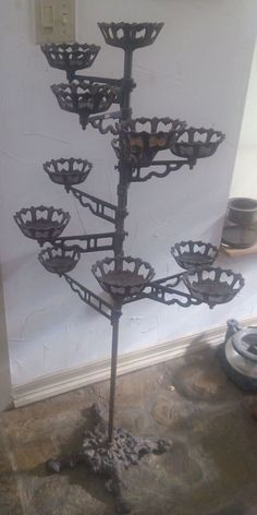 Antique Victorian White Ornate Fan Shaped Cast Iron Plant