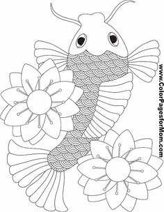 koi coloring pages and cute fish on pinterest