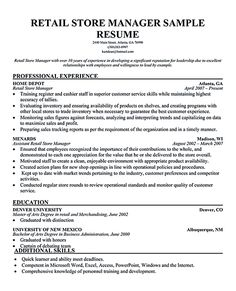 retail manager resume and retail on pinterest