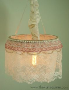 Diy Shabby Chic Chandelier Tutorial Made From A Hula Hoop And Embellishments