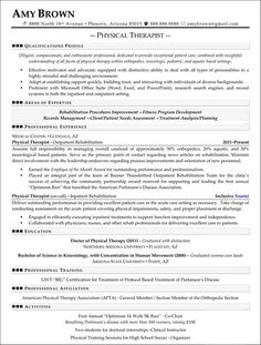resume examples physical therapist and resume on pinterest