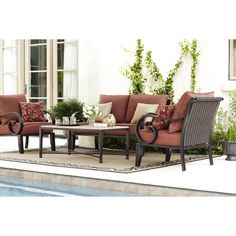 Patio Chairs Allen Roth And Red Cushions On Pinterest