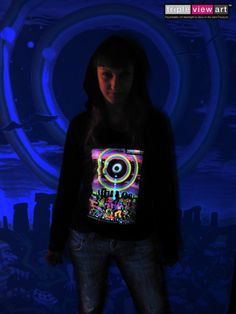Details About WOMENS T SHIRT UV Blacklight Glow In The Dark Psychedelic Psy Goa Trance Club