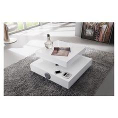Table Basse Carre Plateau Pivotant Design Blanc Laqu