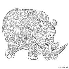 zentangle rhino rhinoceros coloring page