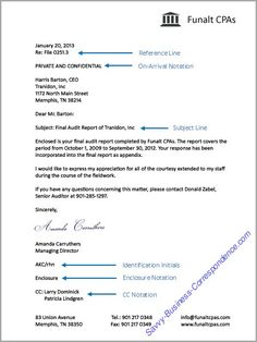 business letter with additional letter elements reference line on