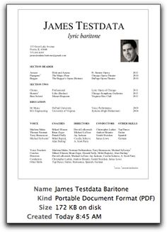 Classical Singer Resume Template. resume template resume template ...