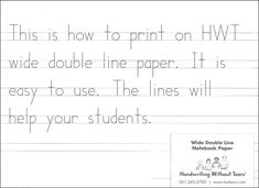 graphic relating to Handwriting Without Tears Printable Paper named Handwriting Without the need of Tears Template. extensive laptop paper 100