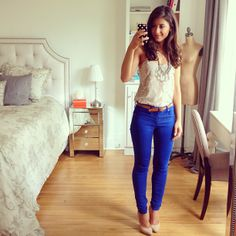 Mimi Ikonn Green Jeans And White Sweater Look Of The