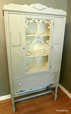 Antique 1930s China Hutch Painted Antique White And