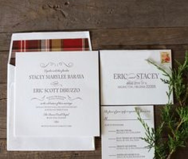Plaid Lined Envelopes Accompanied Letterpressed Invitations To Create An Elegant Yet Approachable Mountain Wedding Theme