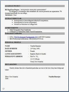resume format curriculum and resume on pinterest