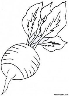 vegetable radish page printable for kids