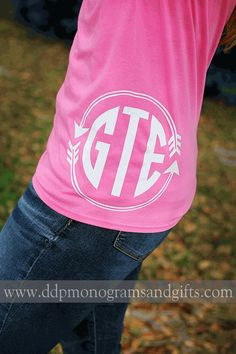 Personalized Iron On Circle Arrow Monogram By