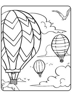 printable summer coloring pages hot air balloon party via