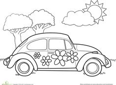 hippie vintage car a mini van in zentangle style for adult anti