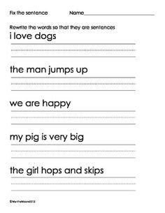 Kindergarten Sentences Worksheets Sentence Starters For