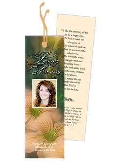 Memorial Bookmarks Templates. 1000 images about memorial bookmarks ...